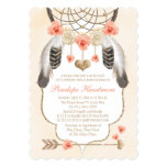 Coral and Gold Dreamcatcher Boho Baby Girl Shower 13 Cm X 18 Cm Invitation Card