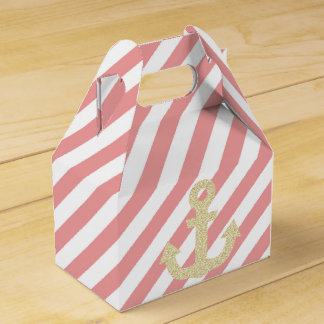 Coral and Gold Glitter Anchor Nautical Favor Box