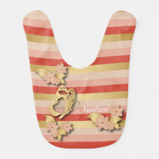 Coral and Gold Stripes with Butterflies for Baby Bibs