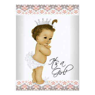 """Coral and Gray Baby Girl Shower 5.5"""" X 7.5"""" Invitation Card"""