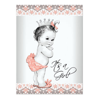 """Coral and Gray Baby Shower 6.5"""" X 8.75"""" Invitation Card"""