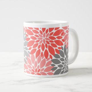 Coral and Gray Chrysanthemums Floral Pattern Large Coffee Mug