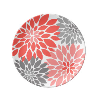 Coral and Gray Chrysanthemums Floral Pattern Plate