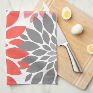 Coral and Gray Chrysanthemums Floral Pattern Tea Towel