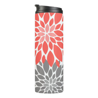 Coral and Gray Chrysanthemums Floral Pattern Thermal Tumbler