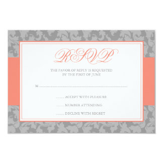 Coral and Gray Damask Swirl Wedding RSVP 9 Cm X 13 Cm Invitation Card