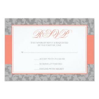 Coral and Gray Damask Swirl Wedding RSVP 9 Cm X 13 Cm Invitation Card