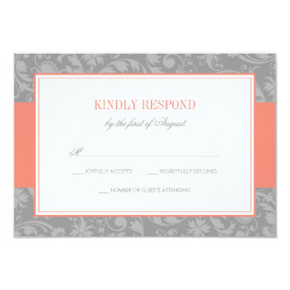 Coral and Gray Damask Wedding RSVP 9 Cm X 13 Cm Invitation Card