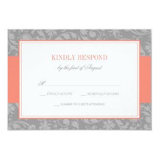 Coral and Gray Damask Wedding RSVP 9 Cm X 13 Cm Invitation Card