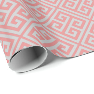 Coral And Gray Greek Key Wrapping Paper
