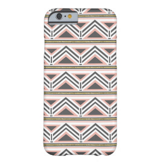 Coral and Gray Tribal Pattern w/ Faux Gold Accent Barely There iPhone 6 Case