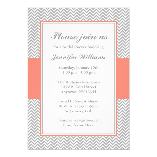 Coral and Grey Chevron Bridal Shower Custom Announcements