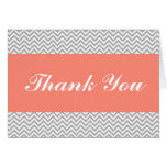 Coral and Grey Chevron Thank You