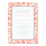 Coral and Grey Swirl Damask Wedding 13 Cm X 18 Cm Invitation Card