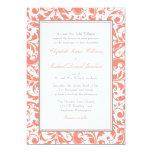 Coral and Grey Swirl Damask Wedding 13 Cm X 18 Cm Invitation Card