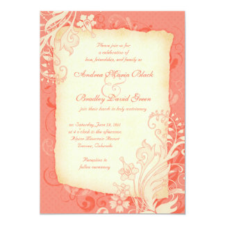 Coral and Ivory Floral Wedding Invitation