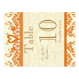 Coral and Ivory Swan Damask Table Number Postcard