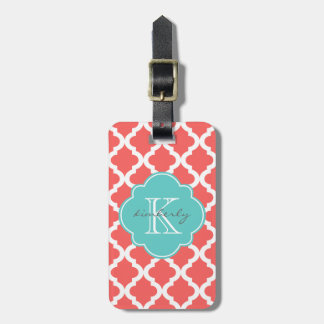 Coral and Light Aqua Moroccan Quatrefoil Print Luggage Tag
