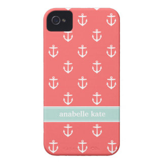 Coral and Mint Cute Anchors Custom Monogram iPhone 4 Case-Mate Cases