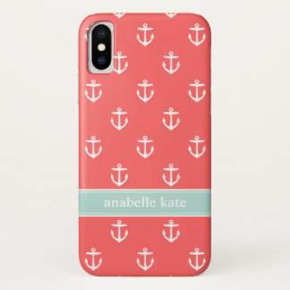 Coral and Mint Cute Anchors Custom Monogram iPhone X Case