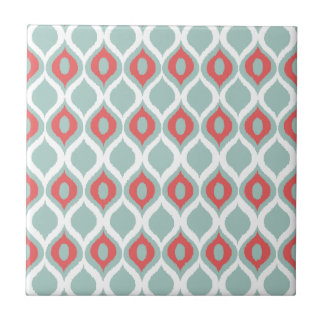 Coral and Mint Geometric Ikat Tribal Print Pattern Ceramic Tile