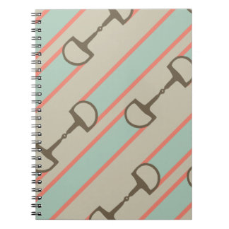 Coral and Mint Horse Bit Ribbon Pattern Spiral Notebook