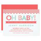 Coral and Mint Modern Chevron Baby Shower Card