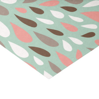 Coral and Mint Raindrops Pattern Tissue Paper