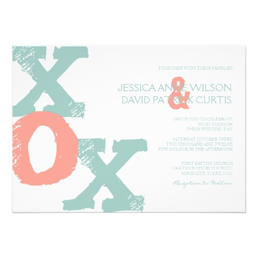 Coral and Mint XOX Wedding Invitation