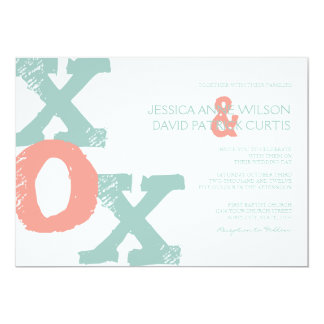 Coral and Mint XOX Wedding Invitation