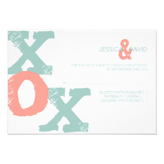 Coral and Mint XOX Wedding RSVP Personalized Announcements