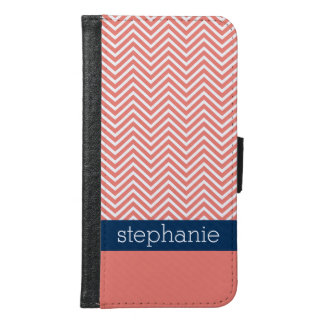 Coral and Navy Blue Chevrons Custom Name Samsung Galaxy S6 Wallet Case