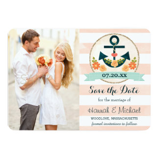CORAL AND NAVY BLUE NAUTICAL ANCHOR SAVE THE DATE CARD