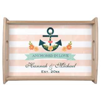 Coral and Navy Blue Nautical Anchor Wedding Serving Tray
