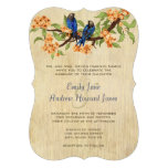Coral and Navy Blue Vintage Love Birds Tea Stain Personalised Invite