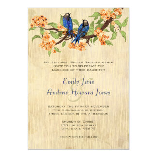 Coral and Navy Blue Vintage Love Birds Tea Stain Personalized Announcements