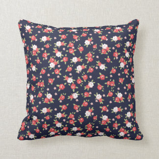 Coral and Navy Chic Vintage Floral Print Cushion