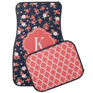 Coral and Navy Chic Vintage Floral Print Monogram Floor Mat