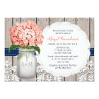 Coral and Navy Hydrangea Mason Jar Bridal Shower Invitation