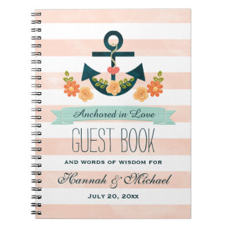 Coral and Navy Nautical Anchor Wedding Guest Book Spiral Notebook