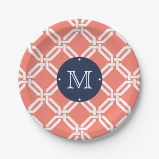 Coral and Navy Octagon Link Monogram 7 Inch Paper Plate