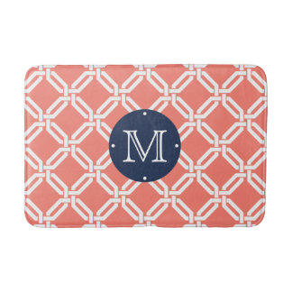 Coral and Navy Octagon Link Monogram Bath Mat