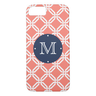 Coral and Navy Octagon Link Monogram iPhone 7 Case