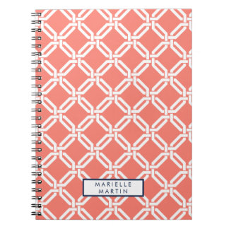 Coral and Navy Octagon Link Monogram Notebook