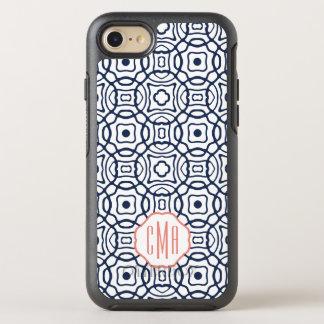 Coral and Navy Quatrefoil Monogram OtterBox Symmetry iPhone 8/7 Case