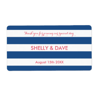 Coral and navy striped wedding water bottle labels