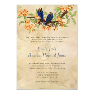 Coral and Navy Vintage Love Birds Tea Stain Custom Announcement