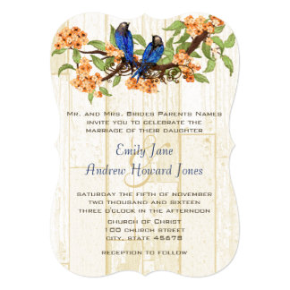 Coral and Navy Vintage Love Birds Tea Stain Invitation
