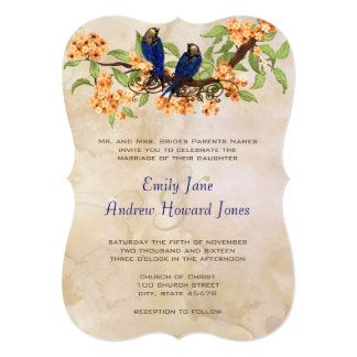 Coral and Navy Vintage Love Birds Tea Stain Custom Invite