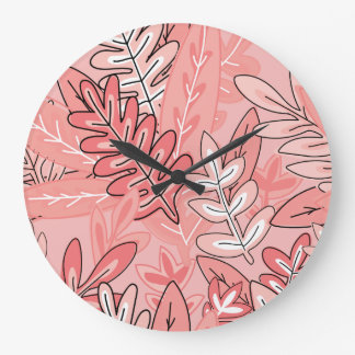 Coral and Peach Abstract Floral #2 Large Clock